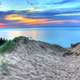 Painterly sunset with skies on the sand dunes at Pictured Rocks National Lakeshore, Michigan