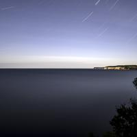 Star Trails above lake Superior at Pictured Rocks National Lakeshore, Michigan