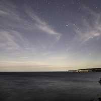 Stars above the night landscape at Pictured Rocks National Lakeshore, Michigan