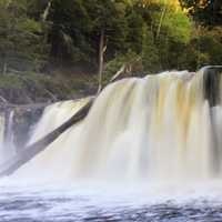 Close view of the waterfall at Porcupine Mountains State Park, Michigan