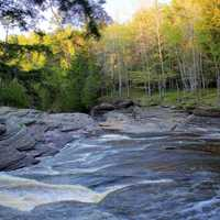 River flowing downstream at Porcupine Mountains State Park, Michigan