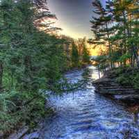 River sunset at Porcupine Mountains State Park, Michigan