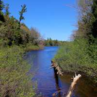 Stream flowing into Superior at Porcupine Mountains State Park, Michigan