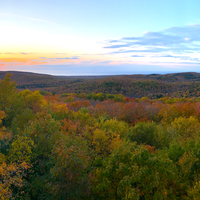 Sunset in the autumn forest at Porcupine Mountains