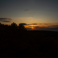 Sunset over the forest in Porcupine Mountains
