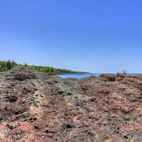 Lake Superior beyond rock outcropping in the Upper Peninsula, Michigan