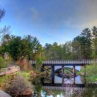 Bridge spanning the stream in the Upper Peninsula, Michigan