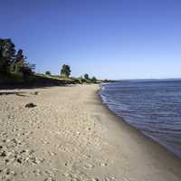 Shoreline landscape view in Upper Peninsula, Michigan