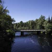 Peshekee River with a bridge at Van Riper State Park, Michigan