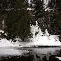 Icicles forming on the banks at Cascade River State Park, Minnesota