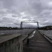 Road Bridge from the Pier in Duluth, Minnesota