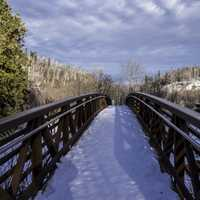 Looking Across the bridge at Gooseberry Falls State Park, Minnesota