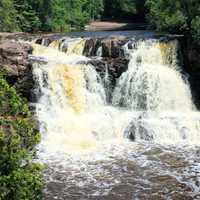 Front view of the first falls at Gooseberry Falls State Park, Minnesota