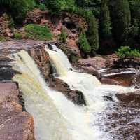 Vertical view of the falls at Gooseberry Falls State Park, Minnesota