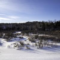 Snowy landscape on the Gooseberry River at Gooseberry Falls State Park, Minnesota