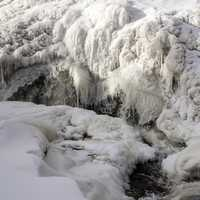 Water cascading at the frozen falls at Gooseberry Falls State Park, Minnesota