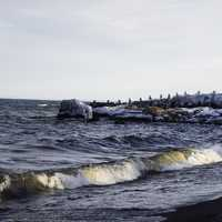 Waves on the Coastline at Gooseberry Falls State Park, Minnesota