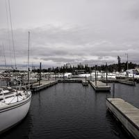 Docks, ships, and landscape in the winter in Grand Marais, Minnesota