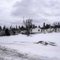 Houses and village in the snow in Grand Marais, Minnesota