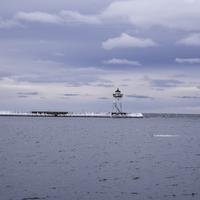 Lighthouse under the cloudy skies in Grand Marais, Minnesota