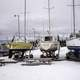 Three Boats at the Marina in the winter in Grand Marais, Minnesota