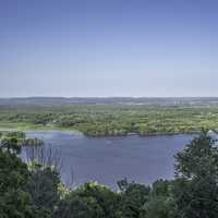 Mississippi River landscape under blue sky