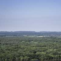 Overlook of the forest and hills at Great River Bluffs State Park