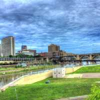 Landscape of the river and bridge in St. Paul, Minnesota