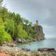 Cloudy shoreline at Split Rock lighthouse Minnesota