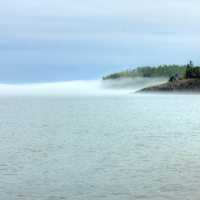 Fog out on the lake at Split Rock lighthouse Minnesota