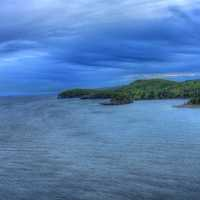Cloudy bay over the bay at Split Rock lighthouse Minnesota