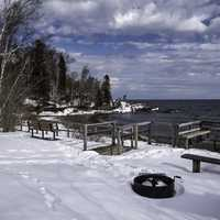 Fence and Picnic Tables along Lake Superior at Temperance River State Park, Minnesota