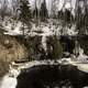 River Banks with Icicles and landscape in the winter at Temperance River State Park, Minnesota