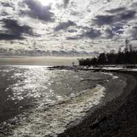 Shoreline, Sky, Clouds, and landscape of Lake Superior at Temperance River State Park, Minnesota