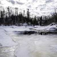 Snow and Frozen Ice at Temperance River State Park, Minnesota
