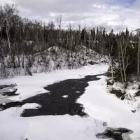 Snowy landscape of the Temperance River in Temperance River State Park, Minnesota
