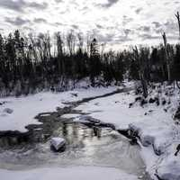 Winter River Landscape in Temperance River State Park, Minnesota