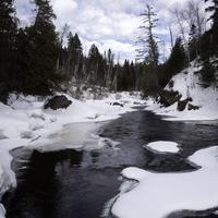 Winter Scenic with trees with snow and ice in Temperance River State Park, Minnesota