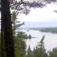 Overlook of Kabetogama on a rainy day at Voyaguers National Park, Minnesota