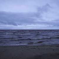 Windy and Wavy Lake of the Woods at Dusk at Zippel Bay State Park