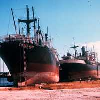 Damage to Big ships after Hurricane Camille in Mississippi