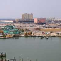 Damage to Marine Life Oceanarium and Casinos at port facility in Gulfport, Mississippi