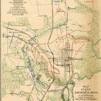 September 1863 map of the Siege of Jackson, Mississippi