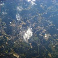 Aerial View with clouds and town underneath in Columbus, Mississippi