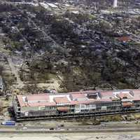 Casino Barges floating on the shore in Biloxi, Mississippi after Hurricane Katrina