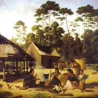 Choctaw Village near the Chefuncte in Mississippi