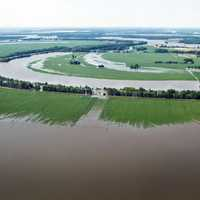 Aerial view of Mississippi River floods in Mississippi