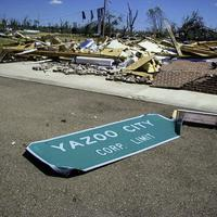 Yazoo City sign after April 24, 2010 tornado wreckage and damage in Mississippi