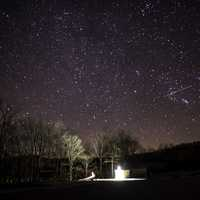 Pavilion lights and stars in the night sky at Echo Bluff State Park, Missouri