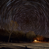 Star Trails above the woods